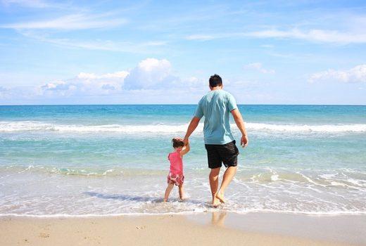 familia, vacaciones, playa, niño