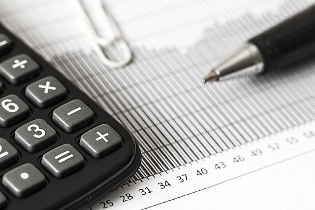 contabilidad, calculadora, números