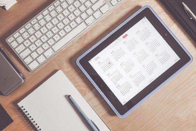 Calendarios, fecha, día, mesa, oficina, ordenador, ipad
