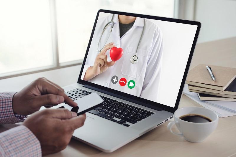 online consultation telemedicine to medicine  man stayhome video
