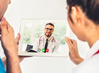 Doctor telemedicine service online video for virtual patient hea