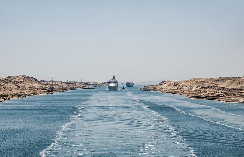 Suez Canal. View from a cruise liner