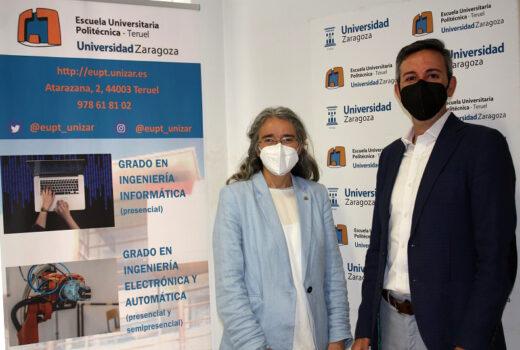 Inmaculada Plaza, directora de la EUPT, y Ángel Blesa, CEO de Codeoscopic.
